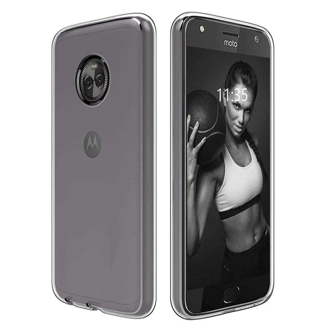 Moto X4 Case, Slim Thin Soft Skin Silicone Flexible Soft TPU [Camera Protection] Shock Absorption Technology Raised Bezels Anti-Scratches Protective Cases -Clear nlpywdbu6