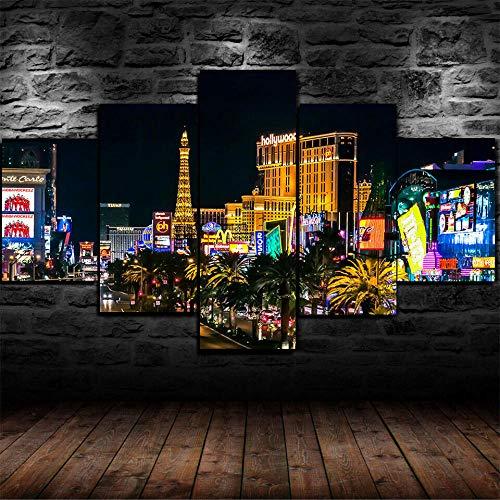 ERSHA Framed Las Vegas City Casino Lights Poster 5 Pcs Canvas Print Wall Art Decor
