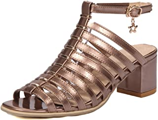 6342d98607 Aisun Women's Open Toe Gladiator Sandals with Ankle Strap - Burnished  Buckled Mid Heel - Block