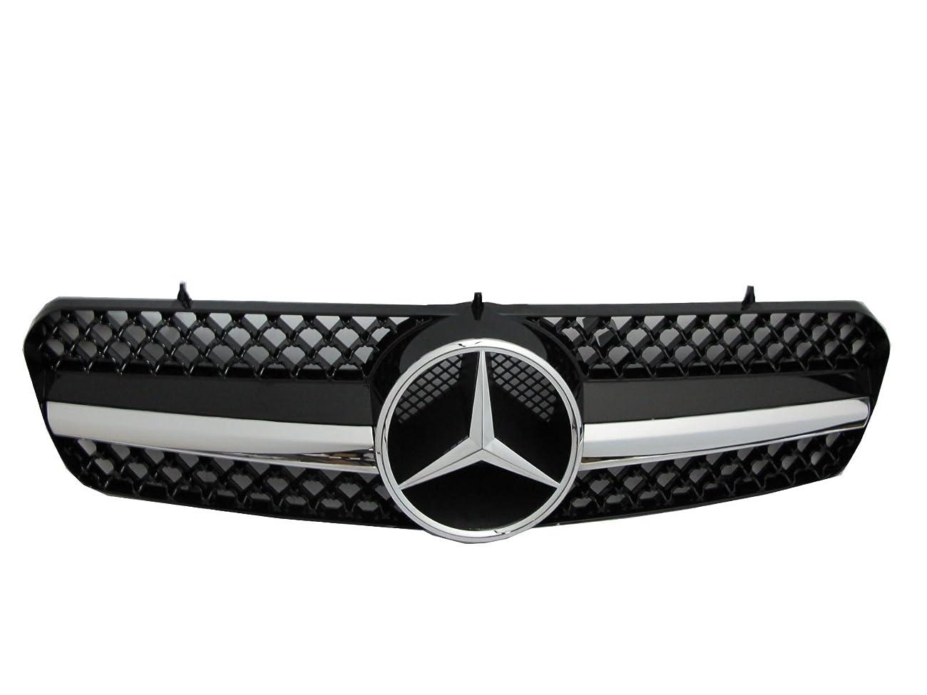 人事険しいシャツCrazyTheGod CLクラス W215/C215 2000-2005 クーペ 2つのドア 1フィン フロントグリル クロム/ブラック V2 に Mercedes-Benz メルセデス-ベンツ