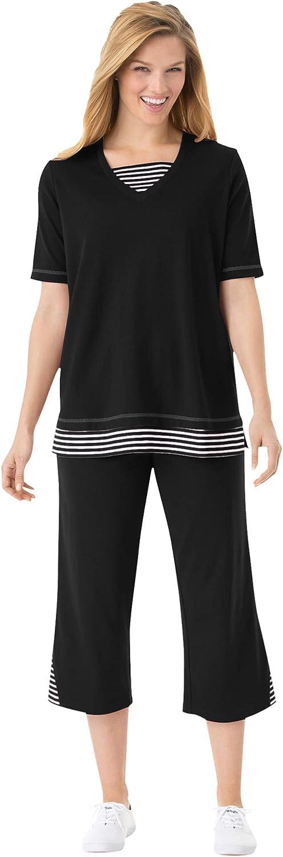 Woman Within Women's OFFicial site Plus Size Striped Max 47% OFF Set Inset Capri Pants