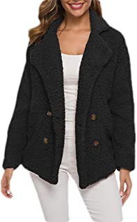 WomenPocket Button Down Lapel Collar Warm Fleece Jacket with Pocketed