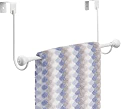 mDesign Metal Bathroom Over Shower Door Towel Rack Holder - Storage Organizer Bar for Hanging Washcloths, Bath, Hand, Face & Fingertip Towels - White with Chrome Finials