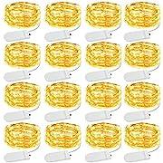 Olafus 16er 2M LED Lichterkette Batterie, 20 LEDs Lichterkette Drahtlichterkette, IP68 Wasserdicht 3000K Micro-Lichterkette Warmweiß String Fairy Light für Innen deko,DIY,Hochzeit,Valentinstag,Party