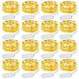 Olafus 16 Pezzi 2M 20 LEDs Stringa Luci LED a Batteria, IP68 Impermeabile Luci Filo di Rame Flessibile, Lucine a LED per Matrimonio Compleanno Festa Natale Vetrina Vaso di Vetro Parete di Foto Albero