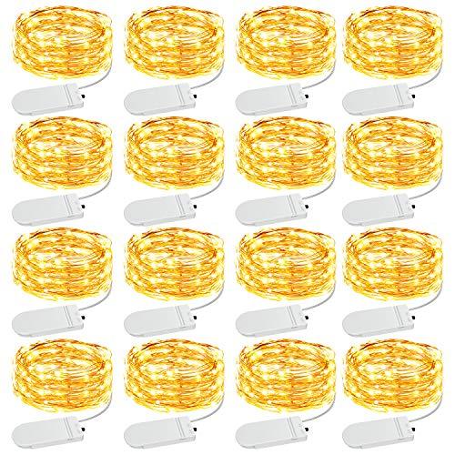Olafus 16 Pezzi 2M Stringa Luci LED a Batteria IP68 Impermeabile Luci Filo di Rame Flessibile 20 LEDs Lucine a LED per Matrimonio Compleanno Festa Natale Vetrina Vaso di Vetro Parete di Foto Albero