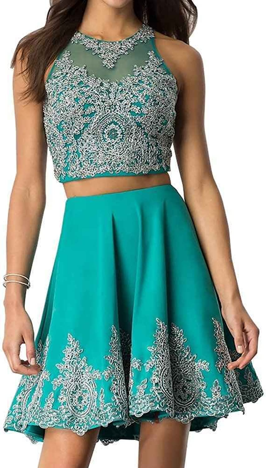 Ruisha Women Two Pieces Homecoming Dress Short ALine Applique High Neck Cocktail Party Gowns RS0197