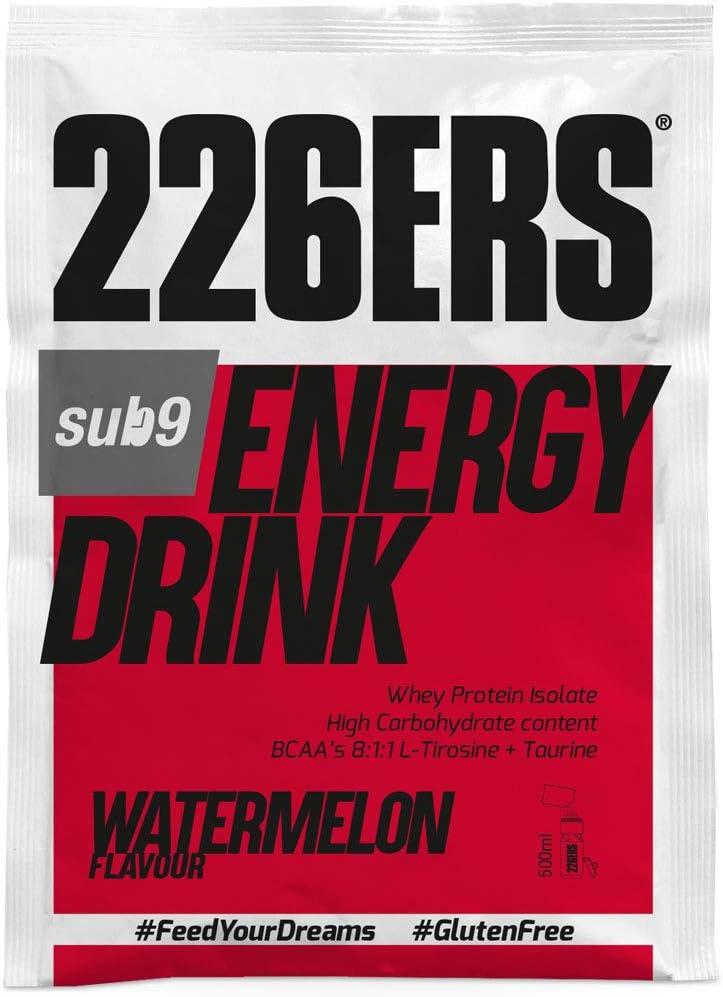 226ERS Sub9 Energy Drink Monodosis, Bebida Energética con Proteína Whey, BCAAs, Amilopectina, Taurina y L-Carnitina, Sandía - 15 unidades x 50 gr