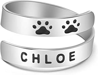 Yiyang Custom Dog Name Ring Stainless Steel Paw Print Adjustable Rings Dainty Dog Memorial Sympathy Gifts for Women Men Gi...