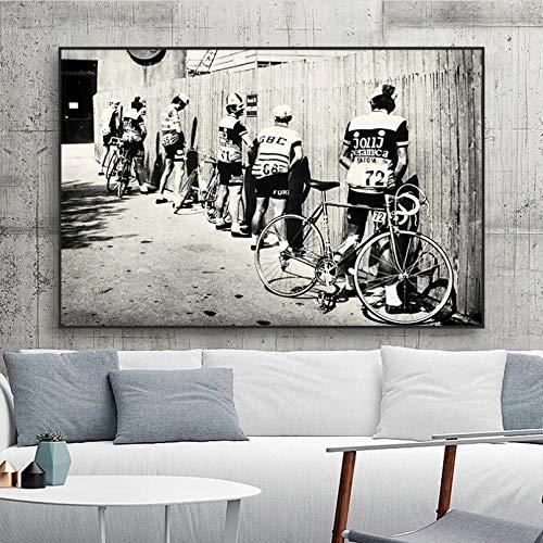 GUDOJK Quadro su Tela Bianco e Nero Bicicletta Ciclista Stampa Bici Vintage Foto Poster Regalo per arredo Bagno Uomini pipì Pissing Ciclismo su Strada Wall Art-40x60cm