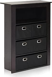 Furinno Econ Hallway Console Table with 4 Foldable Bins, Espresso/Black