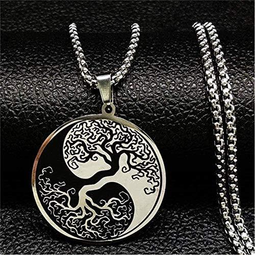 ZHIFUBA Co.,Ltd Collar Tree Life Esmalte Cadena de Acero Inoxidable Collares Hombres Ying Yang Collar de Color Plateado Joyas Collar Colgante para Mujeres Hombres Regalo para Mujeres