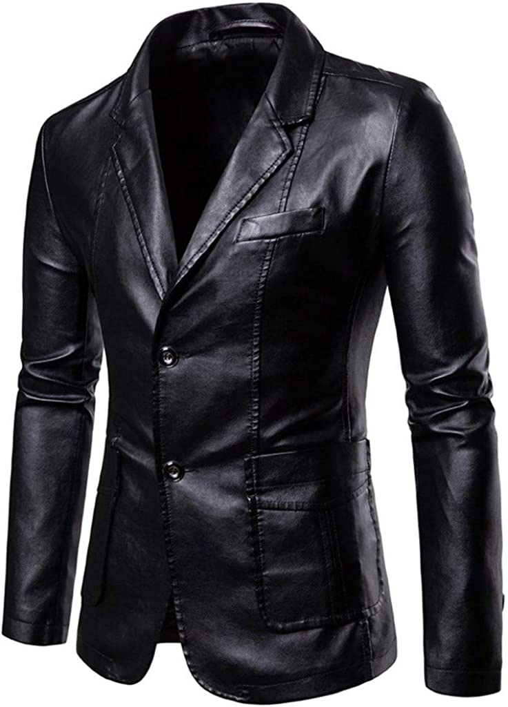 OMINA Mens Business Leather Jackets, Casual Winter Wedding Party Suit Coat Outwear with Buttons and Pockets