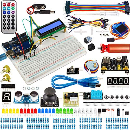 Circuit Breadboard Kit Super Starter Electronic Component Kit for Arduino Programming Project with Pins Headers Sensors LCD Screen Resistors Led Lights Chips Tutorial Cd