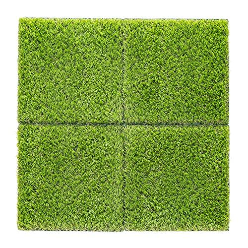Navaris 4X Kunstrasen Matten quadratisch - je 30,3 x 30,3cm - Kunstrasenteppich Platten Fliesen Balkon Terrasse - künstlicher Deko Rasenteppich