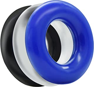 L'aise Vie Soft Stretchy Donut Cock Rings Waterproof Silicone Ring Relax- Assorted Pack of 3 Seamless Same Size Different Color Toys