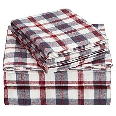 Pinzon 160 Gram Plaid Flannel Sheet Set - Queen, Red/Grey Plaid