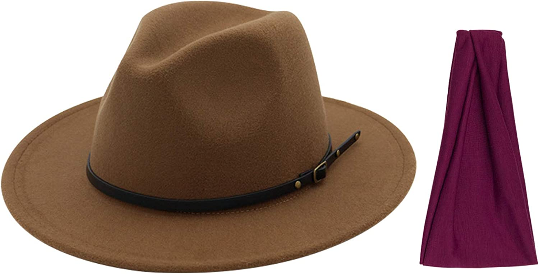 DRESHOW Women Belt Buckle Fedora Hat Classic Wide Brim Felt Panama Hat