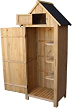 """TryMe 70"""" Wooden Garden Storage Shed Tool Shed Organizer Wooden Lockers with Single Door - Fir Wood"""