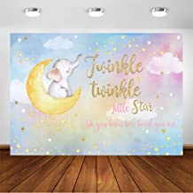 COMOPHOTO Twinkle Twinkle Little Star Elephant Backdrop 7x5ft Girl Baby Shower Photography Background Birthday Party Decoration Watercolor Elephant Baby Shower Party Backdrops