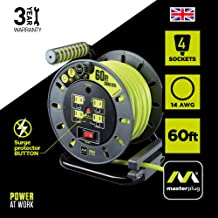 Masterplug 60ft Heavy Duty Extension Cord Open Reel with 4 120V / 10 amp Integrated Outlets