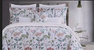Nicole Miller King Duvet Cover Set 3 pc Floral Vines Botanical Garden Reversese to Medallion Green Teal Aqua 300 thread count Cotton Sateen Bedding