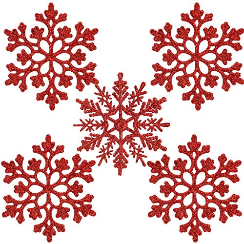 ETHEL Fiocchi di Neve Natale Decorazione,24 Pezzi Fiocchi di Neve Decorazione dell'Albero di Natale,Ornamenti in Fiocco di Neve in plastica,per Decorazioni Natalizie per Feste di Matrimonio (Rosso)