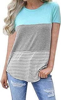 kigod Women's Casual Short Sleeve Round Neck Top Triple Color Block Stripe T-Shirt Tunics Blouse