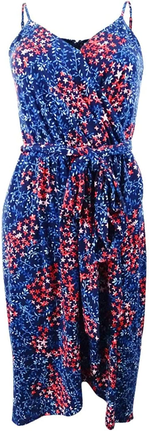C&E CeCe Womens Sleeveless Floral Wrap Dress
