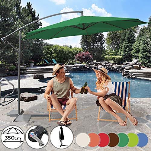 MIADOMODO Parasol Excéntrico - Diámetro Ø350cm, Protección UV30+, Mástil de Acero Ø48mm, Sistema de Manivela, Inclinable, Poliéster 160g/m2, Color a Elegir - Sombrilla para Jardín con Base y Cubierta