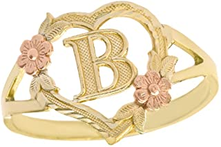 CaliRoseJewelry 10k Gold Initial Alphabet Personalized Heart Ring - Letter B
