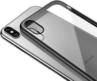 LAYJOY Funda iPhone XS, Funda iPhone X, Carcasa Ligera Silicona Negro Suave TPU Bumper y Transparente Duro PC Case Anti-Arañazos, Anti-Golpes Caso Cover 5.8'' - Clear