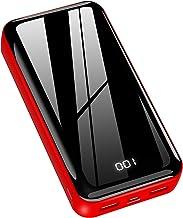 Horcol Power Bank - Cargador portátil (26800 mAh, batería externa de alta capacidad, diseño brillante) con dos salidas USB y entradas (micro USB y tipo C) para iPhone, iPad, Huawei teléfono móvil