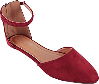 Womens Ankle Strap Pointy Toe Flat Shoe - D'Orsay Comfortable Ballerina Ballet Flats