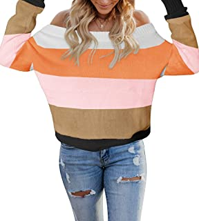 ETCYY Women's Colorblock Sweater Off The Shoulder Baggy Pullover Casual Batwing Sleeve Knit Rainbow Jumper Tops