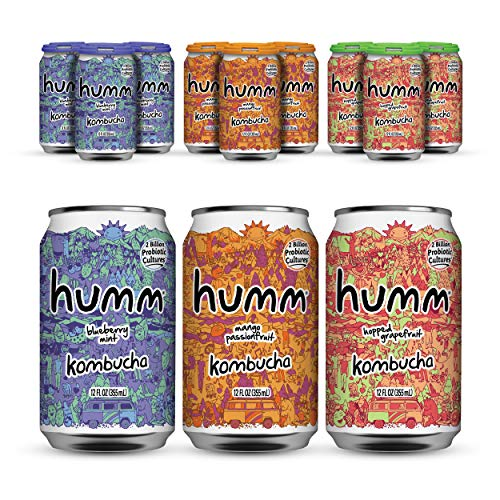 Humm Probiotic Kombucha Summer Variety Pack - 2 Billion Probiotics for Gut Health - Mango Passionfruit, Blueberry Mint and Hopped Grapefruit (24 Pack)
