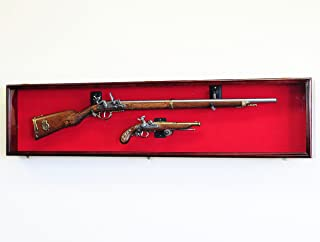 Long Rifle/Musket Gun Display Case Wall Rack Cabinet w/UV Protection -Lockable