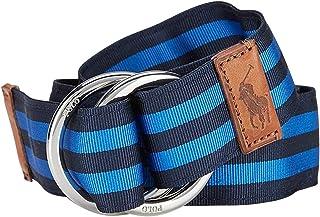 Polo Ralph Lauren Mens Cotton Woven Ribbon Belt Green Blue Red Brass Gold Medium