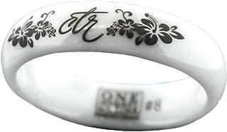 J128 LDS Women's CTR Ring Heavenly Flower White Diamond Ceramic Choose The Right Sizes 5-10