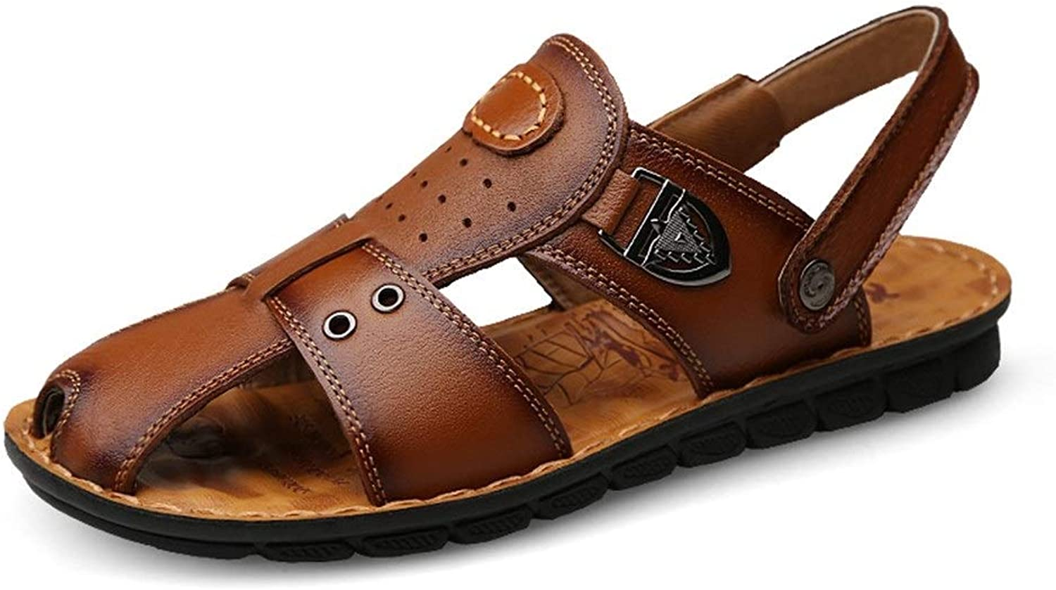RONGLINGXING Fashion Summer Beach Leisure Slippers For Men Genuine Leather Perforated Breathable Outdoor Sandals Vegan Anti-slip Flat Round Close Toe Buckle Waterproof