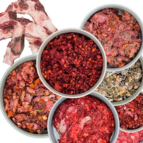feed&meat Barf Fertigmenüs -3 Wochenpaket inklusive Obst, Gemüse und Ölen - 21 x1kg Komplettmixe und 1x Brustbeinknochen regional und frisch