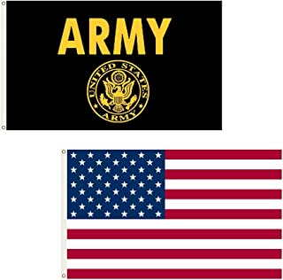 Shoe String King SSK USA + US Army Gold Outdoor Flag Combo Pack - 2 Great Flags for 1 Large 3' x 5', Weather-Resistant Polyester