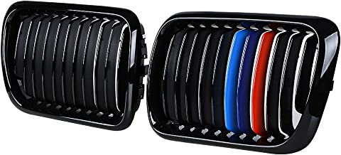 Pair Front Gloss Black M Style Kidney Grille Grill Compatible with 1997-1999 BMW E36 3-series 318i 323ic 328i 323i