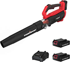 PowerSmart Leaf Blower, 20V MAX Lithium 350CFM Cordless Leaf Blower, Electric Blower, High Speed Battery Powered Air Blower, Lightweight & Portable, Two Battery Packs& Charger Included, PS76154A