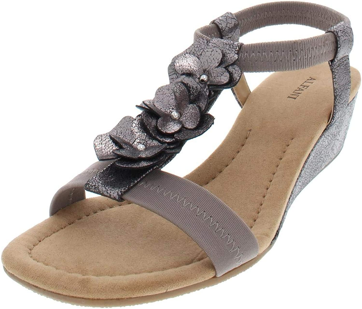 Alfani Womens Valensia Faux Leather Floral Wedge Sandals