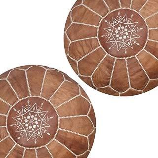 set of 2 Moroccan pouf leather ottoman boho home decor furniture Natural Unstuffed