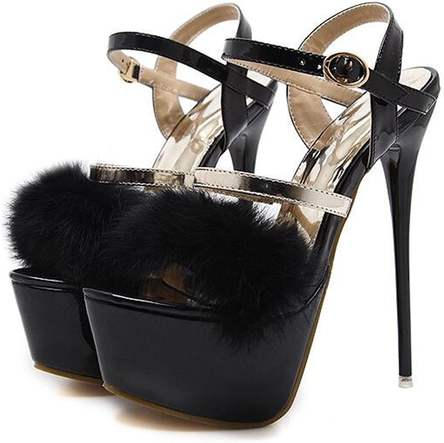 Eleganceoo Women's Open Toe Strappy Platform Ankle Strap Feather Stiletto High Heel Sandal-(-Womens- Comfortable shoes
