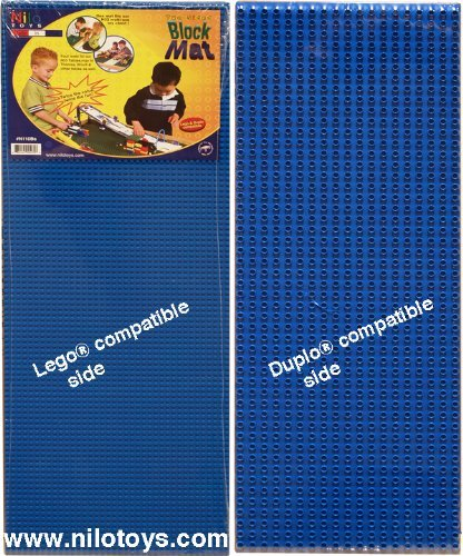 "NILO Blue Lego Compatible Base Plates - Double-Sided Duplo & Lego Mat - Large Snap Fit Reversible Brick Board 12""x32"" (Set of 2X Blue)"