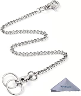 Keychain, Wisdompro Heavy Duty 16 inch Pocket Keychain Wallet Chain with Lobster Clasp and 2 Keyrings for Jeans Pants