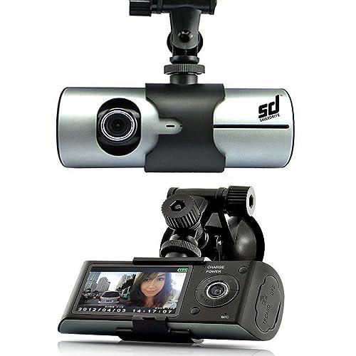 Smiledrive R300 Dual Lens Car Vehicle Mounted Dash Cam/Camera Black Box DVR with GPS Logger G-sensor